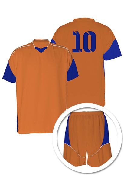 Uniforme de Futebol Munique Coral com Azul Royal - Kit com 16 ... f946b1b069a40