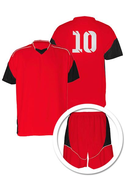 4d4e2e5852 Uniforme de Futebol Munique Vermelho com Preto - Kit com 16 ...