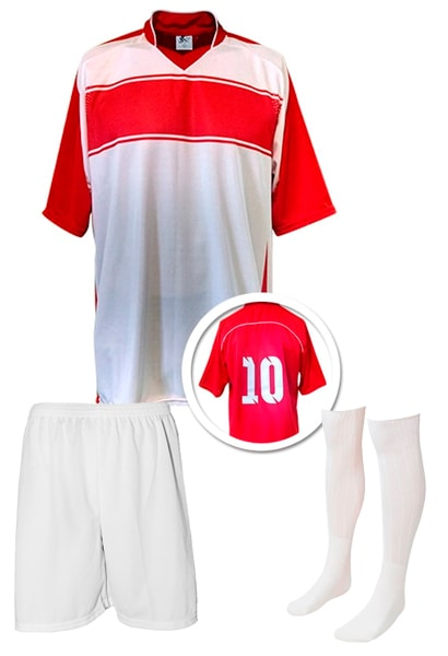 28ec3560629fd Kit Camisa + Calção + Meião de Futebol modelo Lottus Branco com Vermelho