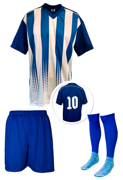 2eed789c85cef Kits de Uniformes de Futebol - Camisa Numerada + Calção + Meião