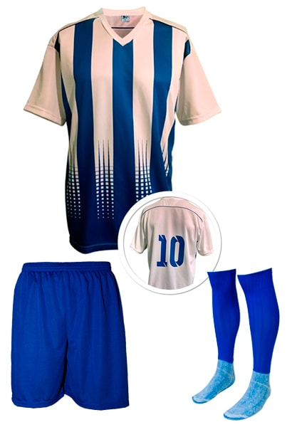 Kit Camisa + Calção + Meião de Futebol modelo Sorrento Branco com ... 394a71dfb1931