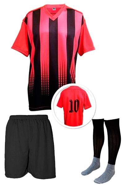 bd6c7d8d27 Calção de Futebol Lottus Preto Vermelho - Coletes para Futebol