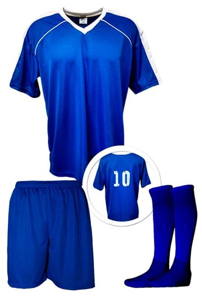 1405678d3e72b Kit Camisa + Calção + Meião de Futebol modelo Arezzo Azul Royal com ...