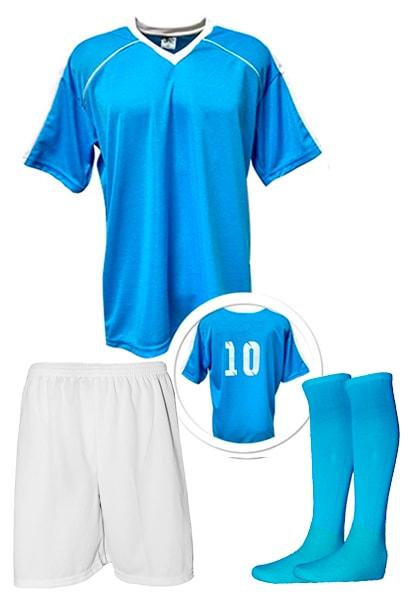 78f10a3a86ff4 Kit Camisa + Calção + Meião de Futebol modelo Arezzo Azul Celeste ...