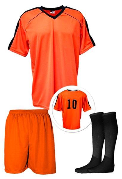 Kit Camisa + Calção + Meião de Futebol modelo Arezzo Laranja com Preto 9ea391647b0d2