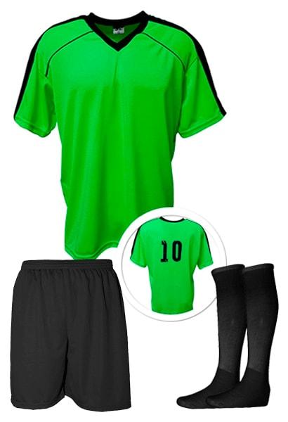 25fe02521c Kit Camisa + Calção + Meião de Futebol modelo Arezzo Verde Limão com ...