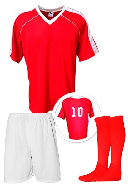 5873643586896 Kit Camisa + Calção + Meião de Futebol modelo Arezzo Vermelho com Branco